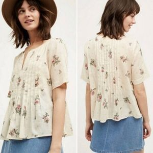 Anthropologie | Maeve Polka Dot Floral Cream Top